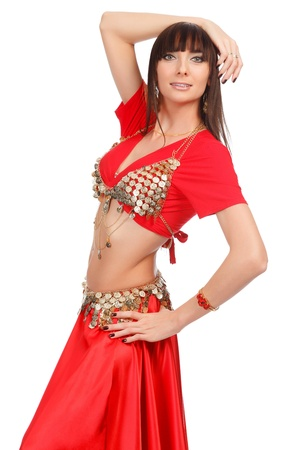 Belly dancer in red dress, isolated on a white background Stock Photo - 12183934