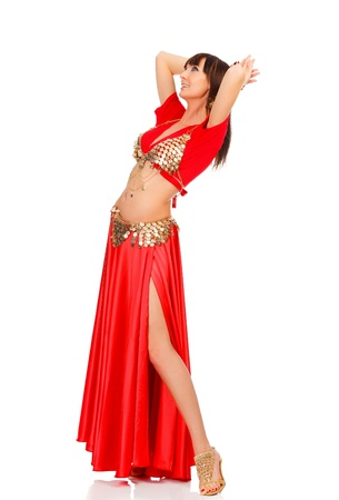 Belly dancer in red dress, isolated on a white background Stock Photo - 12183930
