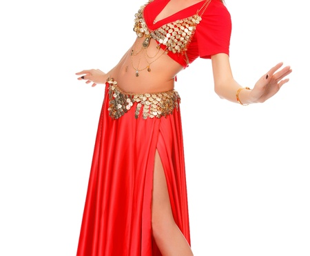 Belly dancer in red dress, isolated on a white background Stock Photo - 12183907