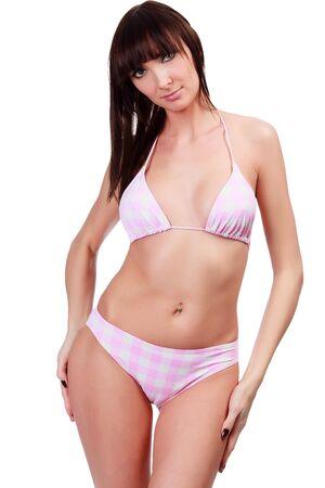 undergarment: girl isolated on white