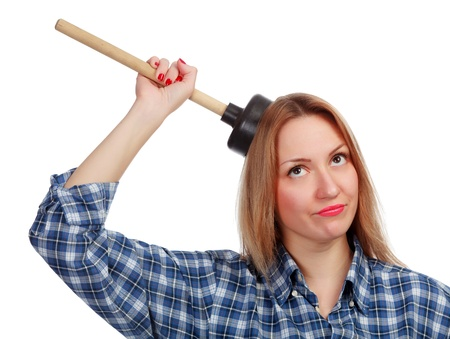 plunger: young woman with plunger, isolated on white Stock Photo