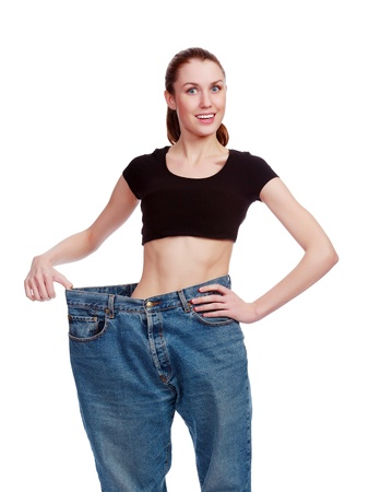 weight loss success: happy weight loss  Stock Photo