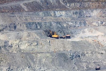 mining truck: In the asbestos quarry Stock Photo