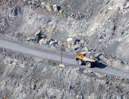 Dump truck in the asbestos quarry photo