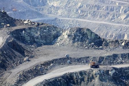 Dump truck in the asbestos quarry photo