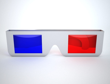 3d glasses on white surface  photo