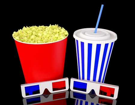 3d glasses with popcorn and soda drink photo