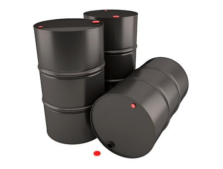 recursos naturales: Barriles de petróleo en el fondo blanco. 3D render clipart Foto de archivo