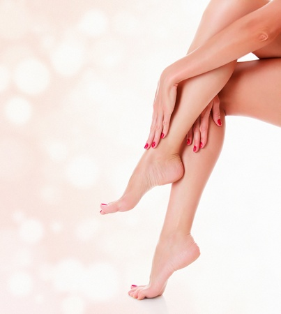 Perfect female legs on blurred background  Luxury style  Stock Photo - 14679863