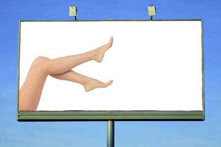 billboard with female legs and a space for your message photo