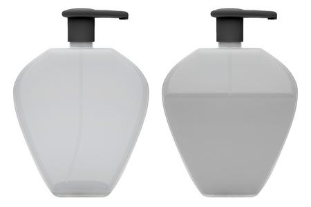 jabon liquido: Botellas con jabón líquido en el fondo blanco 3D render Foto de archivo