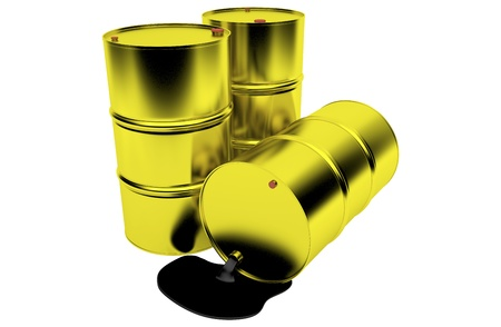 Barrels of oil on white background photo