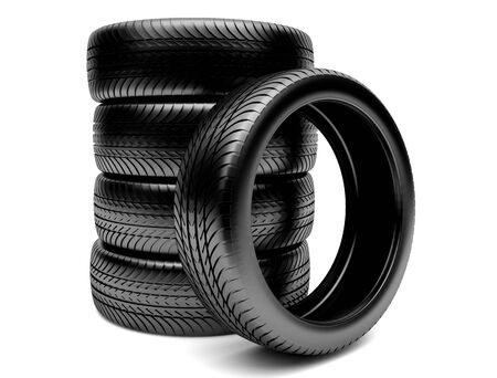 3d tires isolated on white background Stock Photo - 14787774