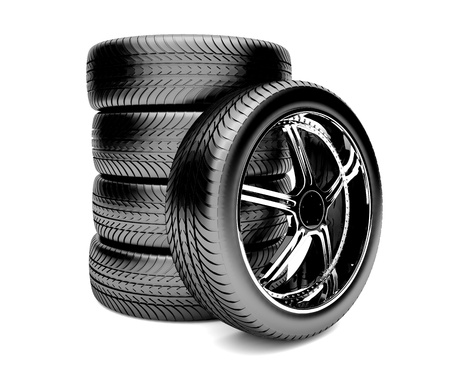 3d tires isolated on white background Stock Photo - 14855292