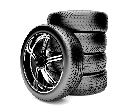 3d tires isolated on white background Stock Photo - 14892209