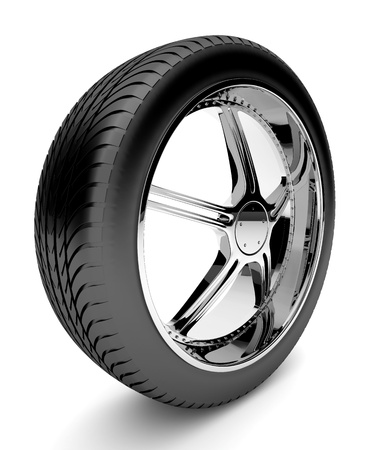 3d tire with forged disk, isolated on white background photo