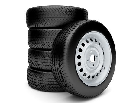 neumaticos: Neumáticos 3d aislado en el fondo blanco