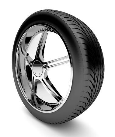 3d tire with forged disk, isolated on white background Stock Photo - 14972061