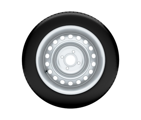 Beautiful car wheel on white background, no shadow  3D render photo
