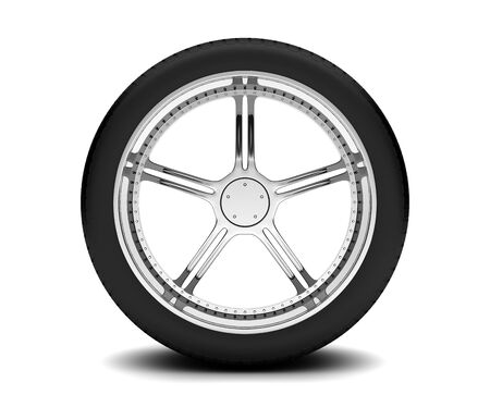 Beautiful car wheel on white background photo