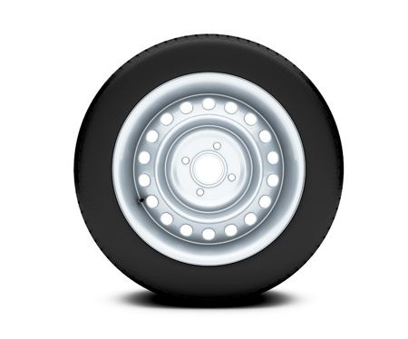 Beautiful car wheel on white background, 3D render photo