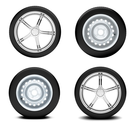 Beautiful car wheels on white background photo