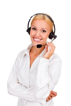 business centre: Happy woman with headset and smiling, isolated over a white backgorund