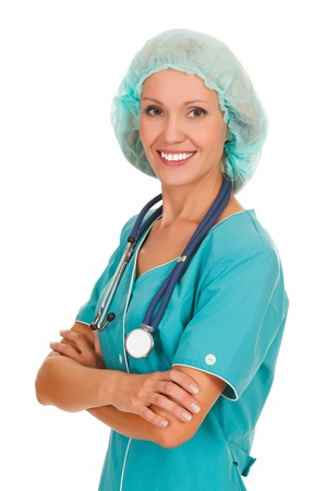 Female doctor smiling to you, isolated over a white background  Stock Photo - 15042168