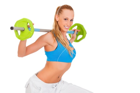 strong arm: sporty young woman with weights, white background  Stock Photo