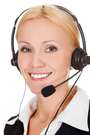 Cheerful call center operator against white background  photo