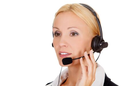 call center operator against white background.  photo