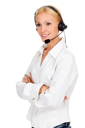 call center operator against white background. Stock Photo - 15074912