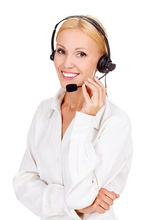 call center agent: call center operator against white background.
