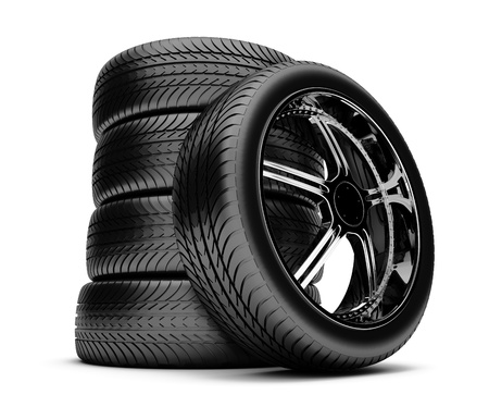 3d tires isolated on white background  Stock Photo