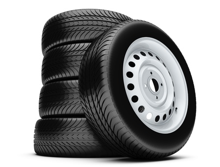 3d tires isolated on white background.  photo