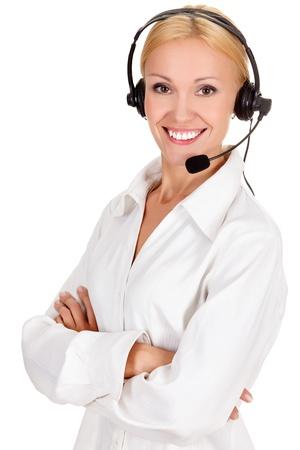 telephone headsets: �En qu� puedo ayudarle? Llame al operador del centro sobre fondo blanco. Foto de archivo