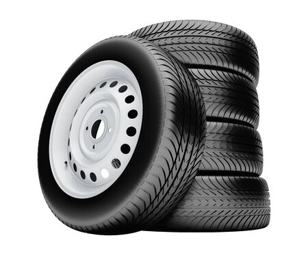 3d tires isolated on white background with no shadow photo