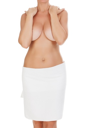 big breast woman: young woman, isolated on white background