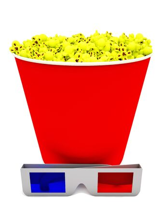 Big red popcorn box with 3d glasses  Stock Photo - 15234003