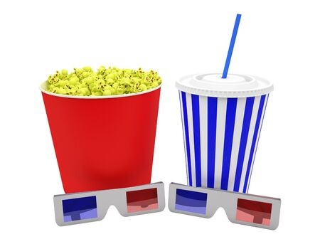 popcorn box with 3d glasses and drink, white background Stock Photo - 15252837