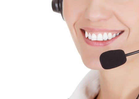 How can I help you? Call center operator against white background Stock Photo - 15252845