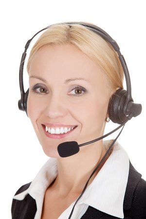 personal service: How can I help you? Call center operator against white background  Stock Photo