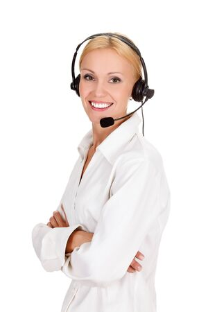 Cheerful call center operator against white background. Stock Photo - 15252852