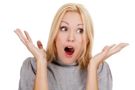 surprised beautiful girl, white background Stock Photo - 15252882