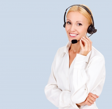 phone operator: customer service operator smiling to you