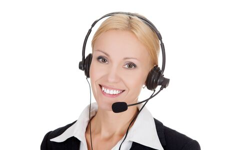 Cheerful call center operator against white background.. Stock Photo - 15460084
