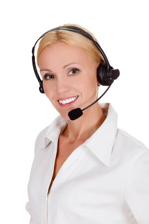Cheerful call center operator against white background Stock Photo - 15460130