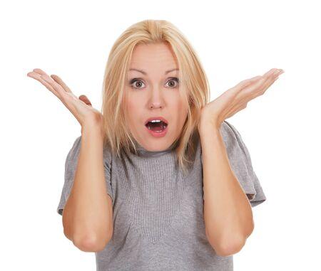 femme bouche ouverte: surpris belle fille, fond blanc