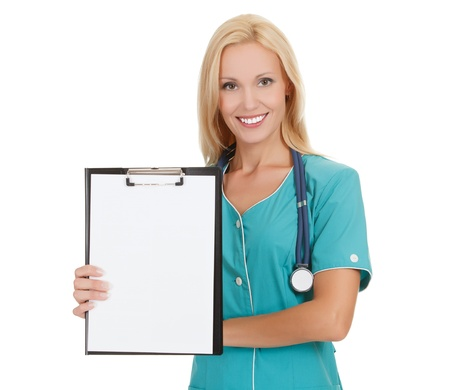 Woman doctor showing clipboard with copy space for your text or design.  photo