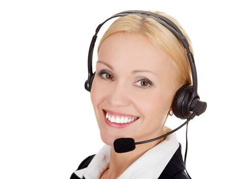 Cheerful call center operator against white background Stock Photo - 15645149